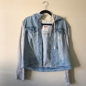Mossimo Supply Grey Striped Knit Denim Jacket